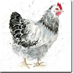 Daisy la carte de voeux de poulet Sussex clair blanc à