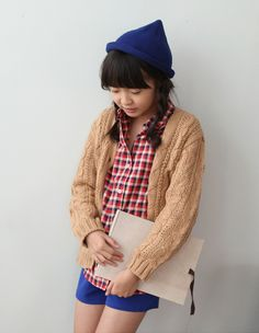 [HODOOSTORY] BUTTON UP CABLE KNIT CARDIGAN