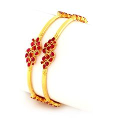 Beautiful Pear-shaped Rubies Studded Bangles