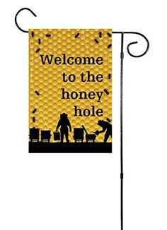 """Welcome To They Honey Hole"" - Bee Keeper Garden Flag 12""x18"" Unique Textile Printing http://www.amazon.com/dp/B015OU0HQM/ref=cm_sw_r_pi_dp_PxNSwb0KYF9CB"