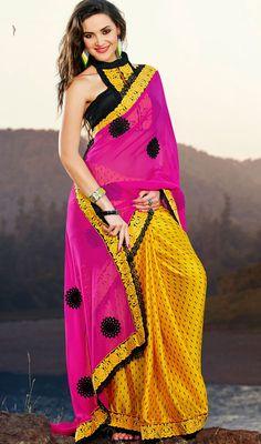 Designer Pink/Yellow Silk Saree Price: Usa Dollar $86, British UK Pound £51, Euro64, Canada CA$94 , Indian Rs4644.