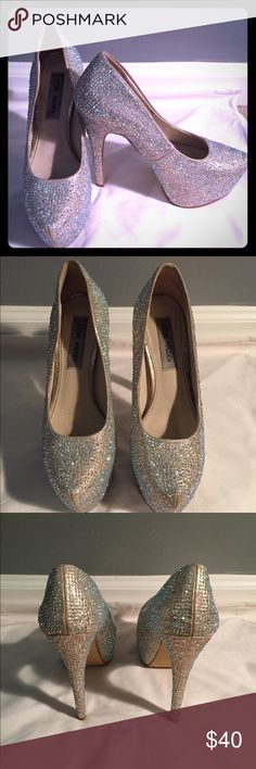 Steve Madden crystal platform heels Only worn for a few hours for my wedding. They're in great condition with no missing crystals and are comfy Steve Madden Shoes Heels