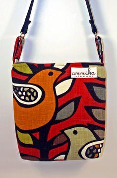 HEAVY DUTY Handmade Cross-Body Purse in Partridge Bird KAS Oslo Spice...From Annika in Chautauqua on Etsy, $49.99