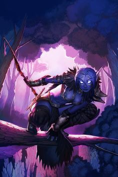 Warcraft Night Elf. Hey that's me! I have that character, but she has purple hair