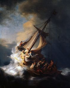 Rembrandt Christ In The Storm painting for sale - Rembrandt Christ In The Storm is handmade art reproduction; You can buy Rembrandt Christ In The Storm painting on canvas or frame. Rembrandt Paintings, Rembrandt Art, Oil Paintings, Paintings Famous, Painting Portraits, Rembrandt Etchings, Oil Portrait, Classic Paintings, Seascape Paintings