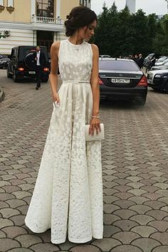 Ivory A Line Floor Length Scoop Sleeveless Appliques Pleats Wedding/Prom Dress P68