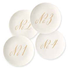 Maybelle Calligraphy Ceramic Dessert Plate, Set of 4, No. Collection…