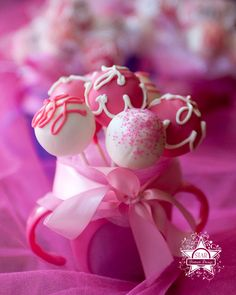 """Cake Pops!  They are so fun and a great idea for any event.  This page has all kinds of different ones.  And actually to make it easier you can buy the """"cake pop"""" kit.  I'm excited about doing these - aren't they precious?"""