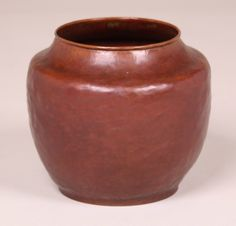 Dirk van Erp Hammered Copper Red Warty Vase. Signed with open-box, San Francisco mark. Excellent original patina. 6.75″h x 7.5″d