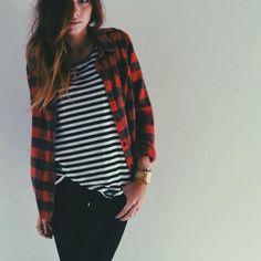 red plaid / stripes / black denim