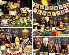 A culture rich in tradition and history, our Celebrate Africa party captures the beautiful country's most unique attributes. Simply print, cut, and glue the Africa Theme Party, African Party Theme, Safari Decorations, Table Decorations, Safari Party, Safari Theme, Party Cups, Kwanzaa, Party Printables