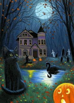 Black cat witch ghost haunted house Halloween moon original aceo painting art #Miniature