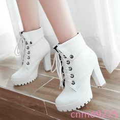 White Round Toe Chunky Rivet Fashion High-Heeled Boots Available Sizes Shaft Height Heel Height Platform Height Heel Height :High Heel Type :Chunky Boot Shaft :Ankle Color :White Toe :Round Shoe Vamp :PU Leather Closure :Lace-up Platform Ankle Boots, High Heel Boots, Heeled Boots, Shoes Heels Boots, Flat Boots, Dress Shoes, Kawaii Shoes, Hype Shoes, Cute Boots