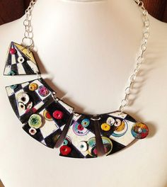 "Polymer clay, necklace, ""A secret path..."", unique, handmade, original design, hand painted"