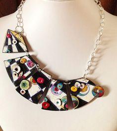 "Polymer clay, necklace, ""A secret path..."", unique, handmade, original design, hand painted"