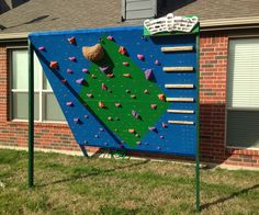 The wall is semi-permanent; meaning that the legs that support the climbing panels can be detached from the base and swing to lay the entire wall flat. While it is...