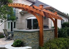 Contemporary Outdoor Kitchen Pergola No. KP6 - by Trellis Structures