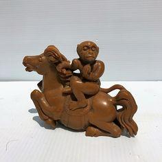 """8″ """"Rising Monkey"""" jade monkey figurine riding on horse, Chinese symbolism of rising success"""