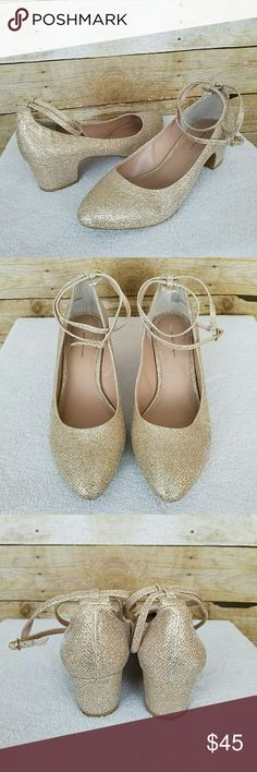 """Anthro Pilcro and the Letterpress Glitter Heels Women's Anthropologie Pilcro and the Letterpress Heels  Double ankle strap  Heel height: 2""""  Size 10  NWOB Anthropologie Shoes Heels"""