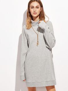 19$  Watch here - http://di9dv.justgood.pw/go.php?t=9632 - Heather Grey Turtleneck Drop Shoulder Ribbed Sweatshirt Dress 19$