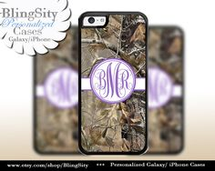 Camo Purple Monogram iPhone 5C 6 Plus Case iPhone 5s 4 case Ipod Realtree Personalized Country Inspired Girl by BlingSity