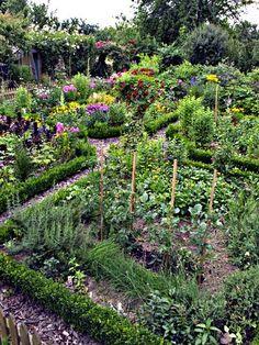 Bauerngarten Buchs Gemüsebeet Sommmerblumen