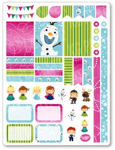 Ice Princess Decorating Kit / Weekly Spread Planner Stickers for Erin Condren Planner, Filofax, Plum Paper