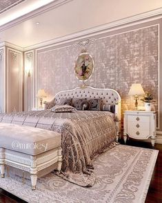 Customer Project✔️ - New Pin Luxury Bedroom Furniture, Luxury Bedroom Design, Home Room Design, Master Bedroom Design, Bed Design, Luxury Bedding, Neutral Bedroom Decor, Home Decor Bedroom, Mansion Bedroom