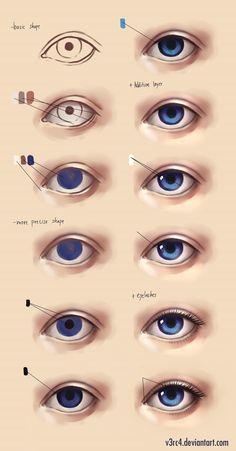 Semi realistic eye - step by step by V3rc4.deviantart.com on @DeviantArt