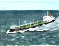 """The ton product carrying BP Tanker M. """"British Humber"""" crossing the English Channel in the late Medium: watercolor on x watercolor paper. English Channel, Art Sites, Automotive Art, Limited Edition Prints, Watercolor Paper, Sculpture Art, Nautical, Abstract Art, Around The Worlds"""