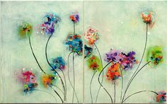 Blumen Malerei Original abstrakte Malerei Acryl von MilaSchoeneberg