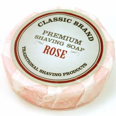 A traditional take shaving soap. Beautiful rose scented soap.