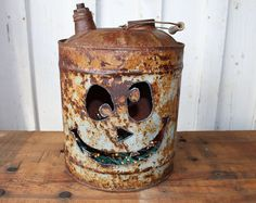 Browse unique items from RefunkedJunkies on Etsy, a global marketplace of… Halloween Pumpkins, Fall Halloween, Halloween Crafts, Halloween Decorations, Scrap Wood Crafts, Metal Crafts, Metal Art Projects, Fall Projects, Pumpkin Crafts