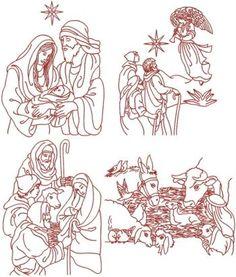 Advanced Embroidery Designs - Nativity Redwork Set IV