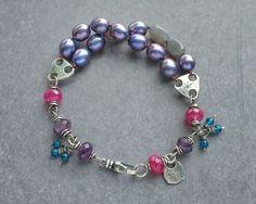 Moonlight #jewelry #handcrafted #pearl #silver #gypsy #bohemian #charm #bracelet