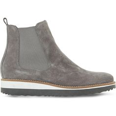 Dune Pontow suede flatform chelsea boots (£90) ❤ liked on Polyvore featuring shoes, boots, gray suede boots, flatform boots, faux-fur boots, gray boots and faux suede boots