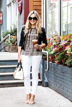 10 Ways to Wear White Jeans | Bows & Sequins | Bloglovin'