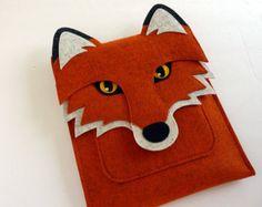 Wolf MacBook Air 13 inch sleeve Gray felt by BoutiqueID on Etsy