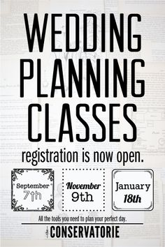 The Conservatorie's Wedding Planning Classes
