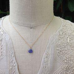 Tanzanite Pendant Necklace - Dainty Purple Tanzanite Briolette Pendant Necklace on Gold Chain by AUREATA on Etsy $60.00