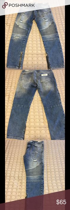 Zara men's blue jeans (brand new) Distressed blue denim jeans with zippered bottoms.  Front and back pockets. Zara Jeans Skinny