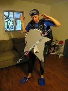 Homemade Shark Attack Victim DIY Halloween Costume Idea: After five years of being a pirate for Halloween, I decided to do something different and more creative. I had the scuba gear, rash guard, board shorts,