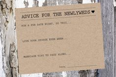 Wedding Advice and Well Wishes Cards on kraft cardstock. Use as a guest book alternative (put in a nice antique box or bird cage!) or keep at the
