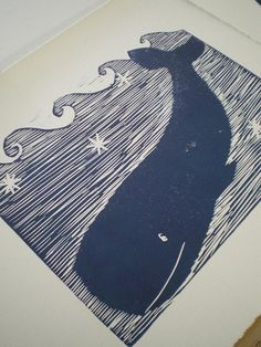 Whale, Nautical Print, Hand-Printed Art, Original Block Print, Navy on white, Ocean. $55.00, via Etsy.