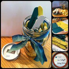 Date Night Jar (in Wedding colors) -mason jar -Popsicle sticks -paint -decorate