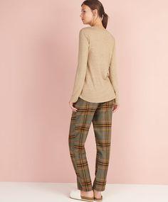 Pantaloni a quadri color verde - OYSHO