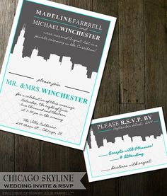 Destination Wedding Invitations - Chicago Skyline - Cityscape Wedding Stationery  Colors can be changed to suit your wedding colors.