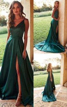 Long Prom Dresses Green, Modest Military Ball Dresses for Teens, 2019 Formal Dresses With Sli. - Long Prom Dresses Green, Modest Military Ball Dresses for Teens, 2019 Formal Dresses With Slit Source by FrederickLReza - Green Evening Dress, Formal Evening Dresses, Elegant Dresses, Pretty Dresses, Green Satin Dress, Satin Dress Prom, Awesome Dresses, Casual Dresses, Green Gown