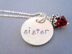 Sister Necklace Hand Stamped Sterling Silver by by marybeadz, $30.00