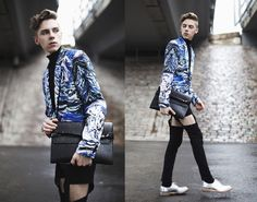 Paulo Succar Blazer, Julja Finland Cut Out Pants, Acne Studios Shoes, Bag Fashion Bags, Mens Fashion, Water Printing, People Online, Printed Blazer, Beats, Gentleman, Punk, Finland
